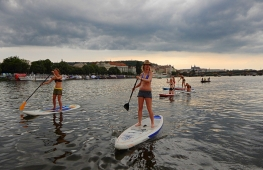 Bachelor party on stand up paddleboard